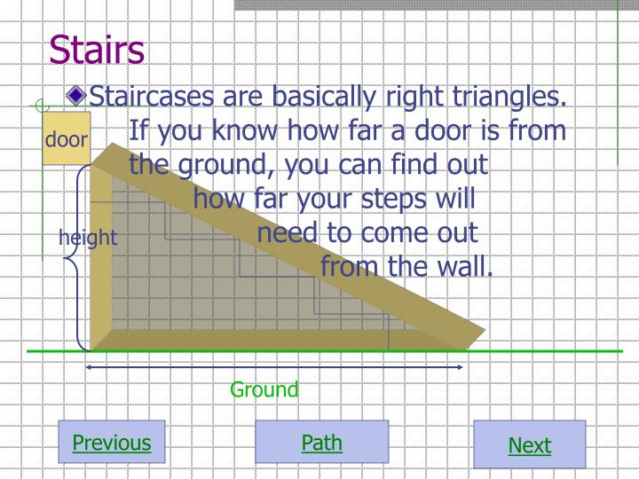Staircases are basically right triangles.  If you know how far a door is from the ground, you can find out how far your steps will need to come out from the wall.