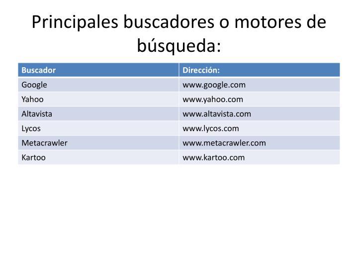 Principales buscadores o motores de búsqueda: