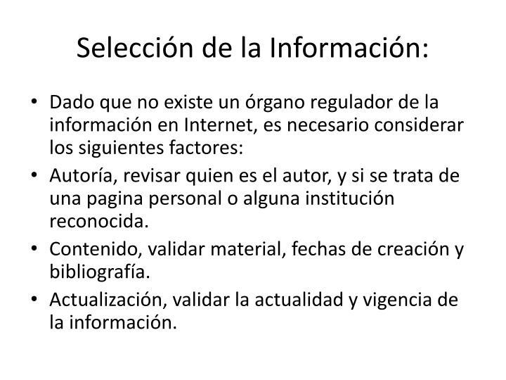 Selección de la Información: