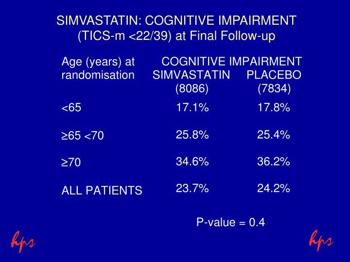 SIMVASTATIN: COGNITIVE IMPAIRMENT