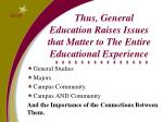 thus general education raises issues that matter to the entire educational experience