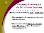 university learning for the 21 st century economy