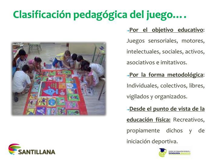 Clasificación pedagógica del juego….