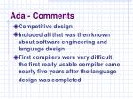 ada comments