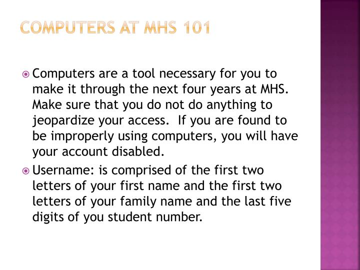 Computers at MHS 101