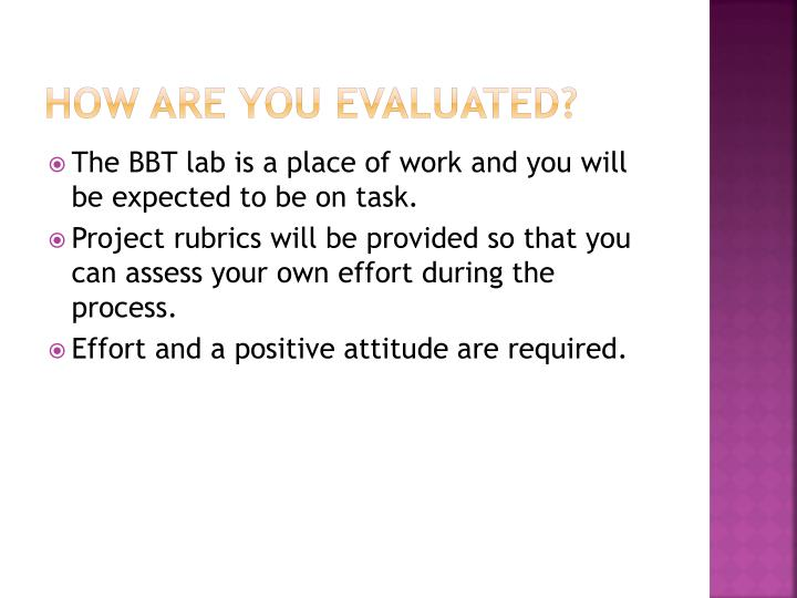 How are you evaluated?