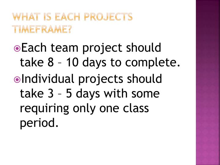 What is each projects timeframe?