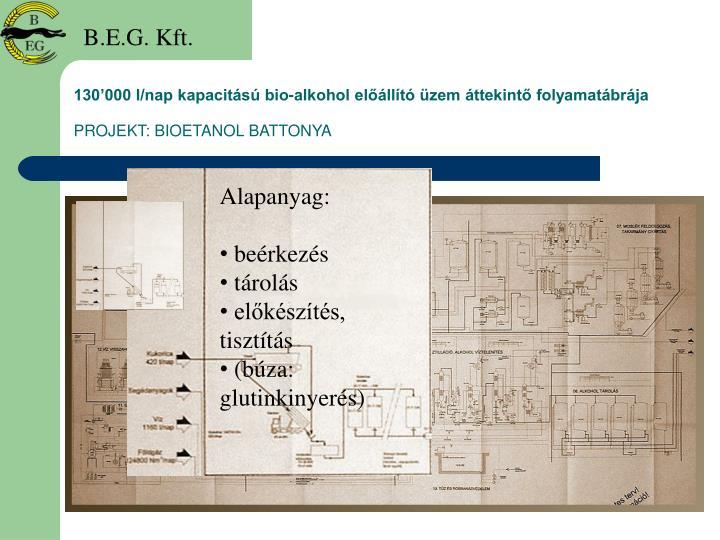 130'000 l/nap kapacitású bio-alkohol előállító üzem áttekintő folyamatábrája