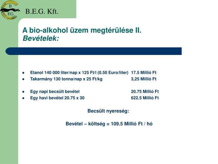 A bio-alkohol üzem megtérülése II.