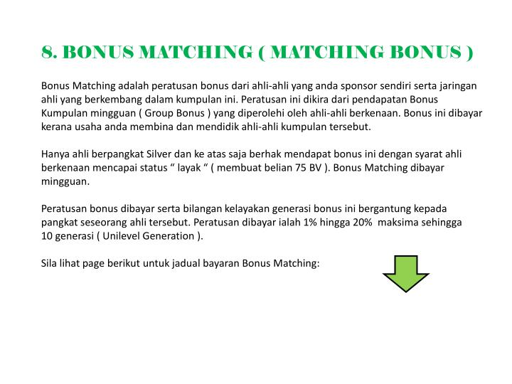 8. BONUS MATCHING ( MATCHING BONUS )