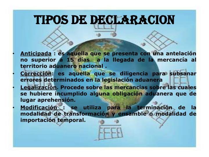 TIPOS DE DECLARACION