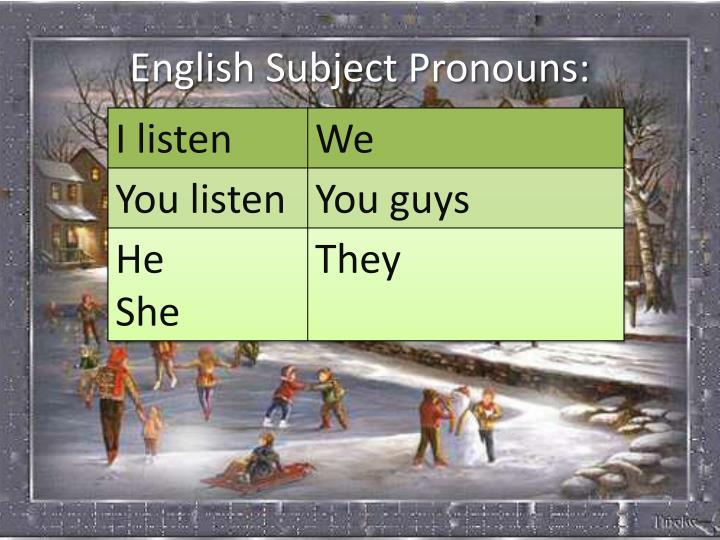 English Subject Pronouns: