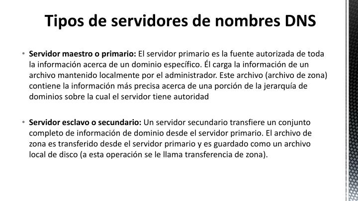 Tipos de servidores de nombres DNS