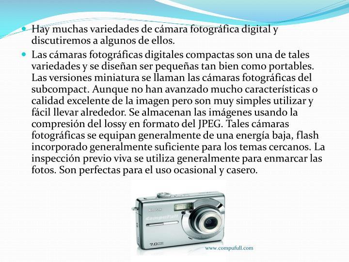 Hay muchas variedades de cámara fotográfica digital y discutiremos a algunos de ellos.