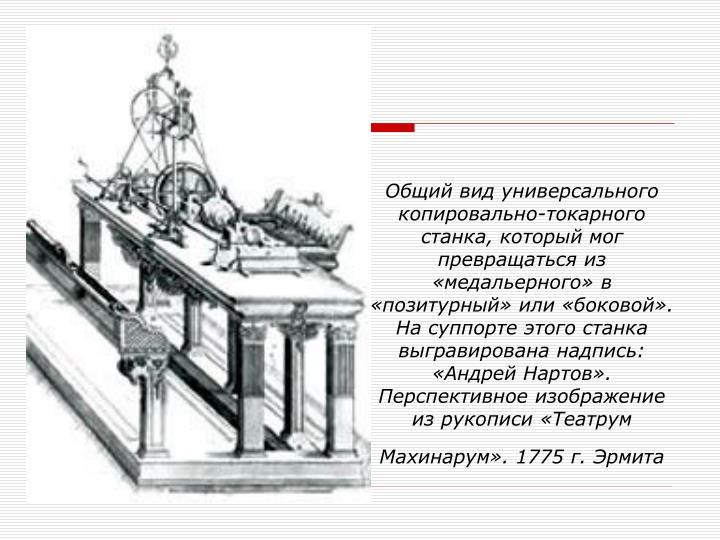 Общий вид универсального копировально-токарного станка, который мог превращаться из «медальерного» в «позитурный» или «боковой». На суппорте этого станка выгравирована надпись: «Андрей Нартов». Перспективное изображение из рукописи «Театрум Махинарум». 1775 г. Эрмита