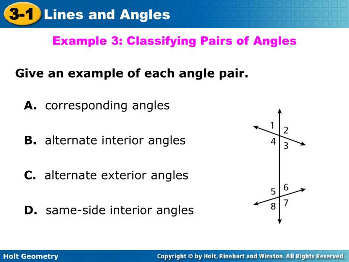 Example 3: Classifying Pairs of Angles