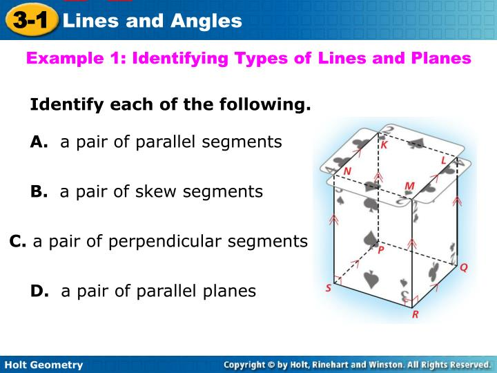 Example 1: Identifying Types of Lines and Planes