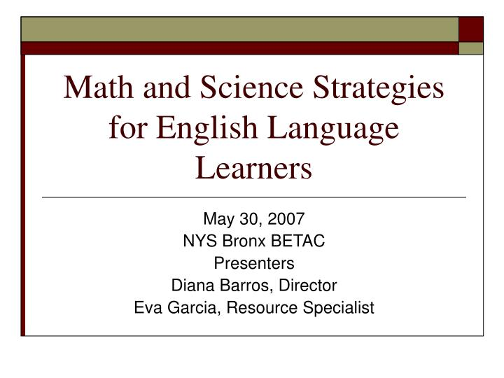 math and science strategies for english language learners n.