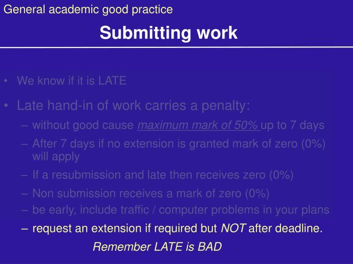 General academic good practice