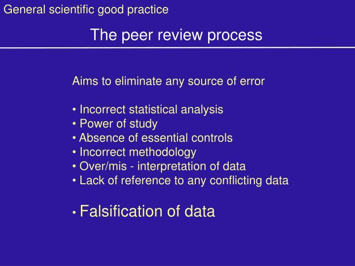 General scientific good practice