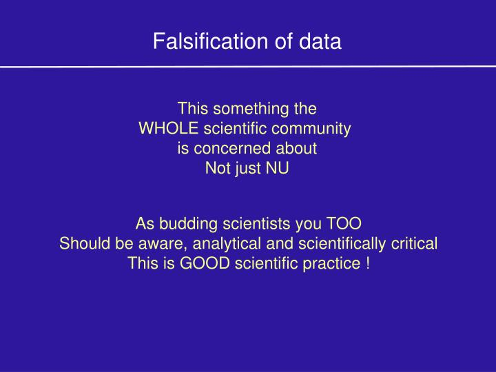 Falsification of data