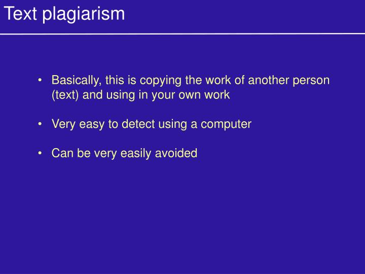 Text plagiarism