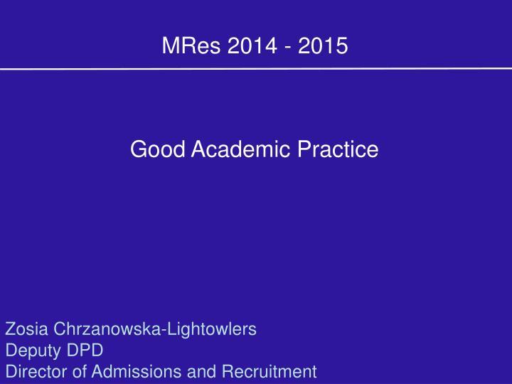 MRes 2014 - 2015