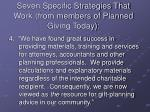 seven specific strategies that work from members of planned giving today3