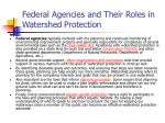 federal agencies and their roles in watershed protection