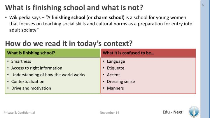What is finishing school and what is not?