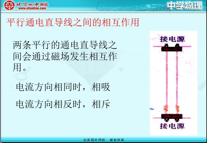 平行通电直导线之间的相互作用