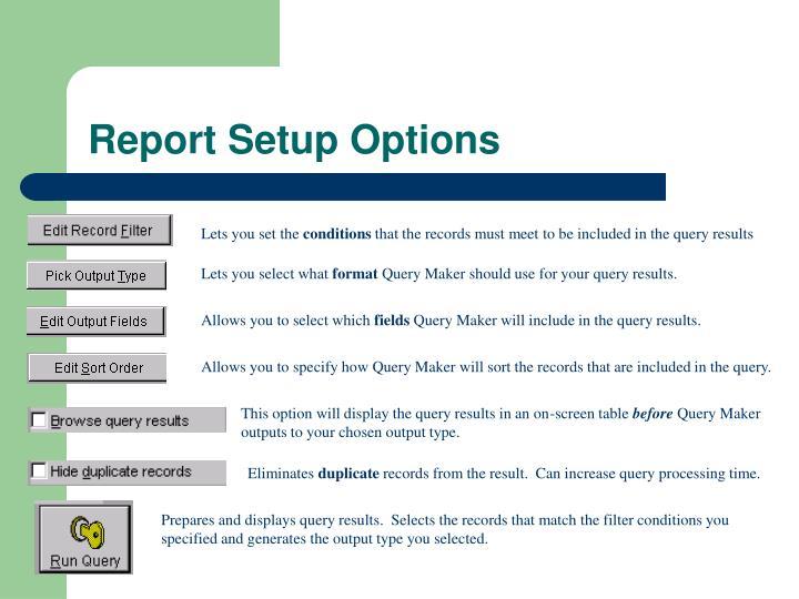 Report Setup Options