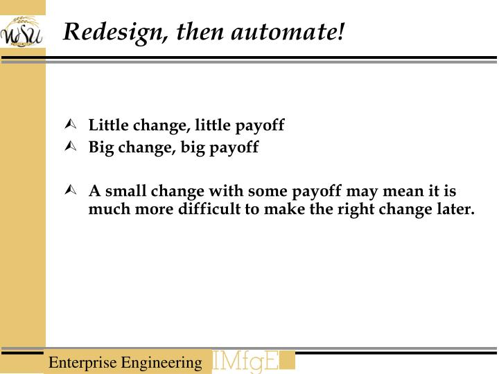 Redesign, then automate!