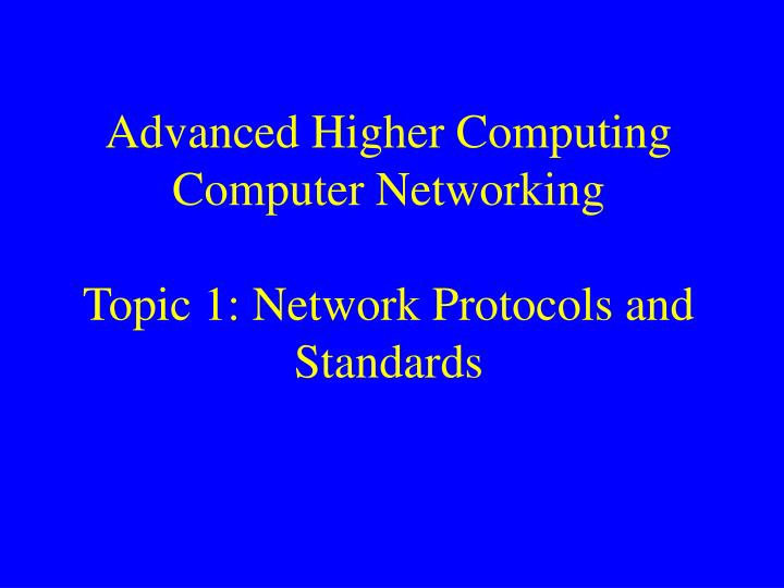 Protocols and standards in computer networks pdf