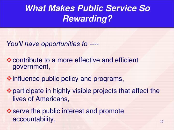 What Makes Public Service So Rewarding?