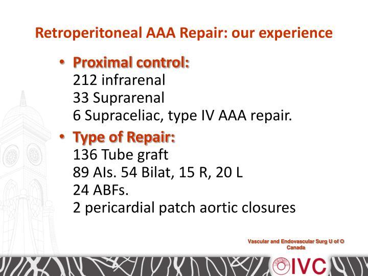 Retroperitoneal AAA Repair: our experience