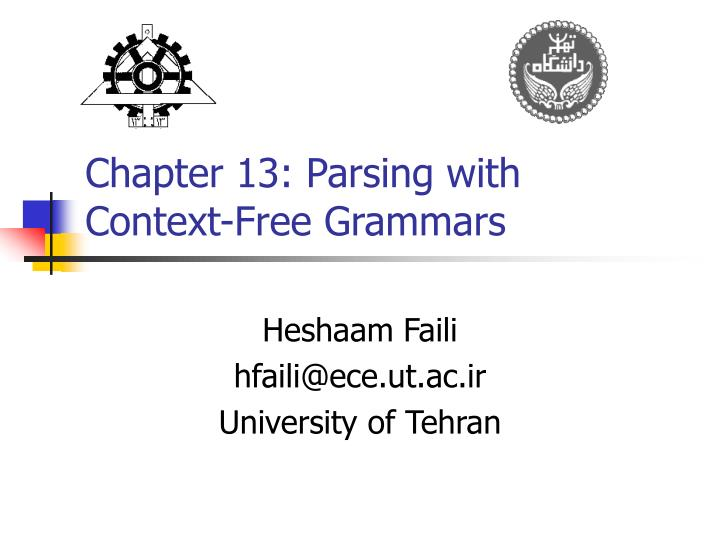 chapter 13 parsing with context free grammars n.
