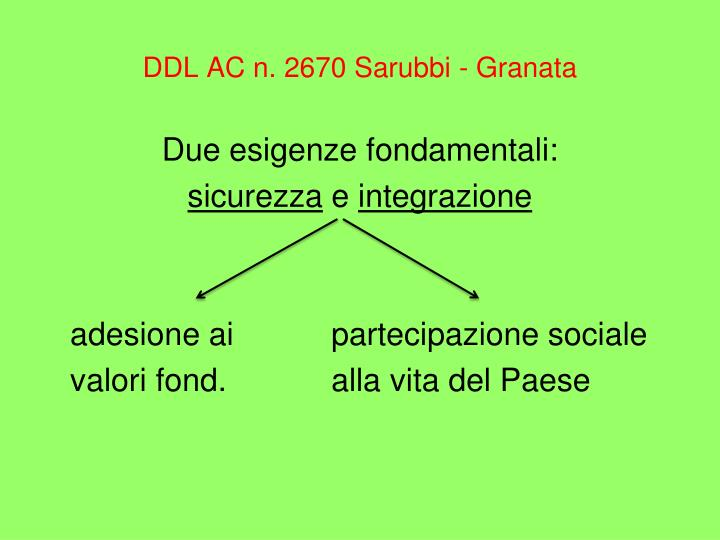 DDL AC n. 2670 Sarubbi - Granata