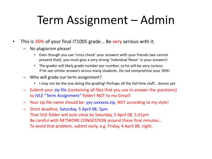 Term Assignment – Admin