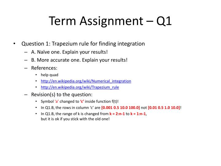 Term Assignment – Q1