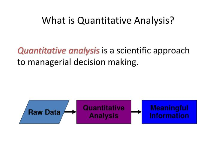quantative analysis Quantitative chemical analysis, branch of chemistry that deals with the determination of the amount or percentage of one or more constituents of a sample.