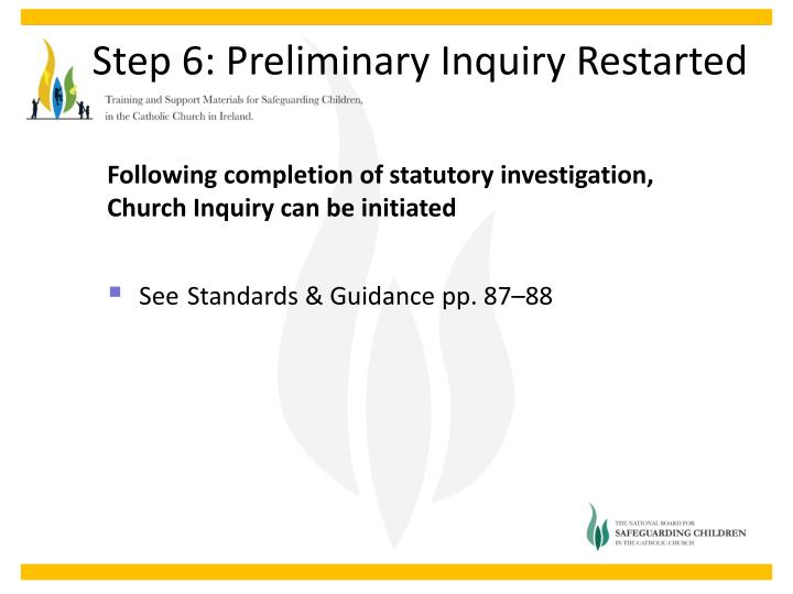 Following completion of statutory investigation, Church Inquiry can be initiated