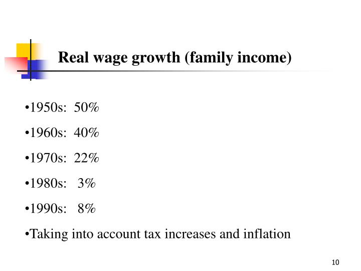 Real wage growth (family income)