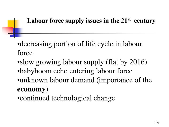 Labour force supply issues in the 21