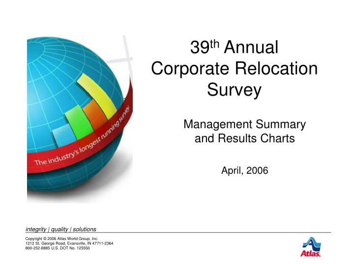 39 th annual corporate relocation survey n.