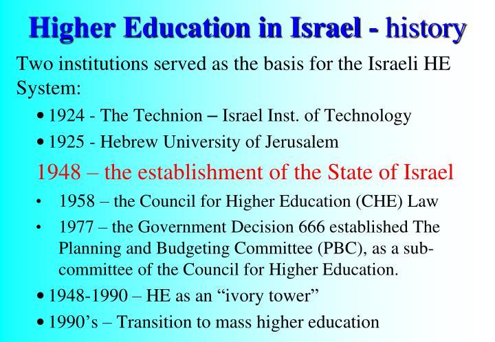 Higher Education in Israel -