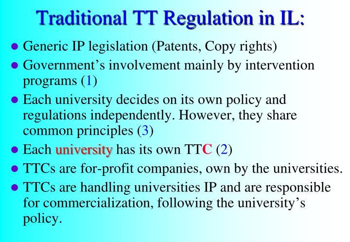 Traditional TT Regulation in IL:
