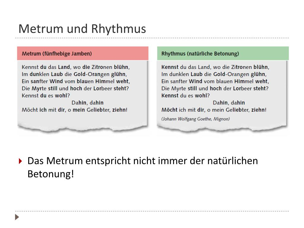 Deutsch Lernen Die Metren Der Gedichtinterpretation