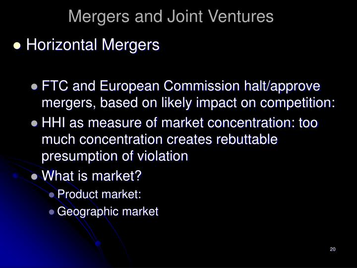mergers and joint mergers essay What motivates mergers and acquisitions an industry level analysis sonal dua delhi school of economics transfer, joint venture break up and preferential allotment as these events do not imply change in control over the company.