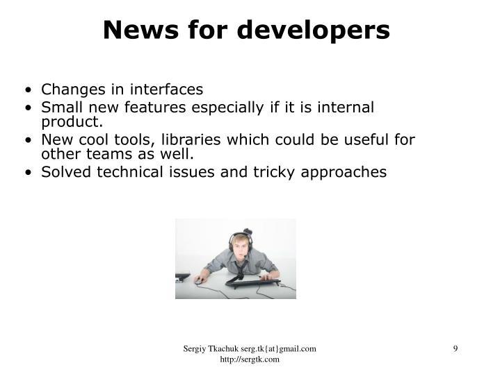 News for developers